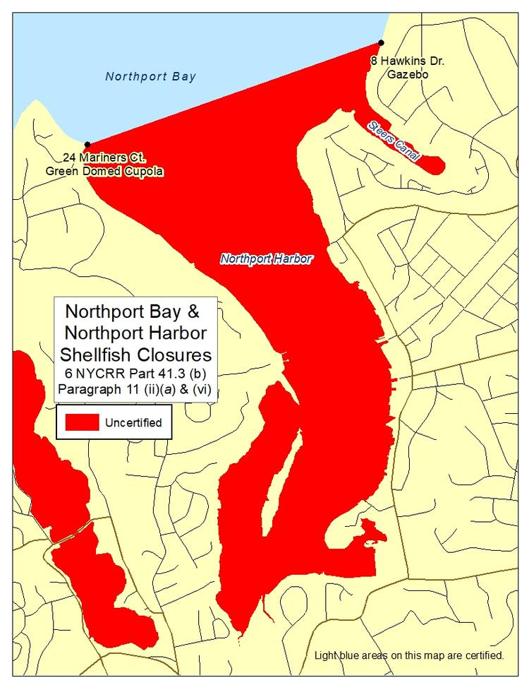 an image of Northport Bay and Northport Harbor Shellfish Closures