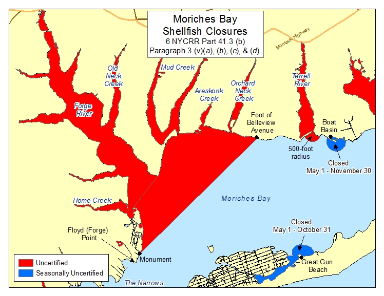 an image of Moriches Bay West Shellfish Closures