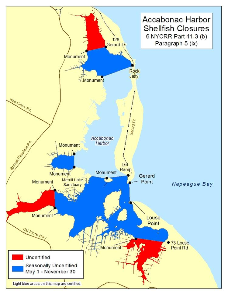 an image of Acabonac Harbor Shellfish Closures