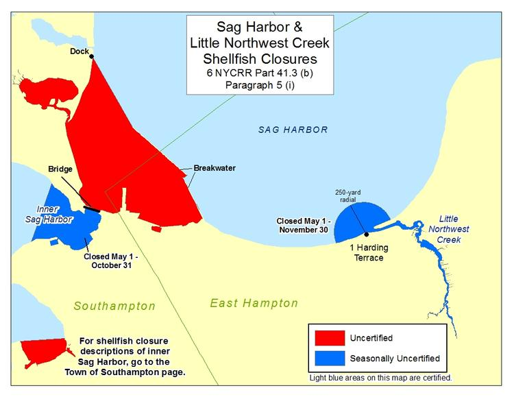 an image of Sag Harbor and Northwest Creeks Shellfish Closures