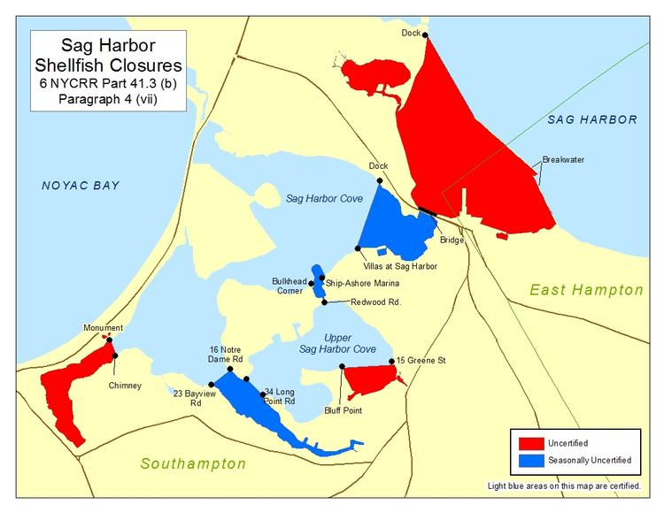an image of Sag Harbor Shellfish Closures