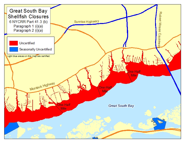 an image of Great South Bay - Babylon Shellfish Closures