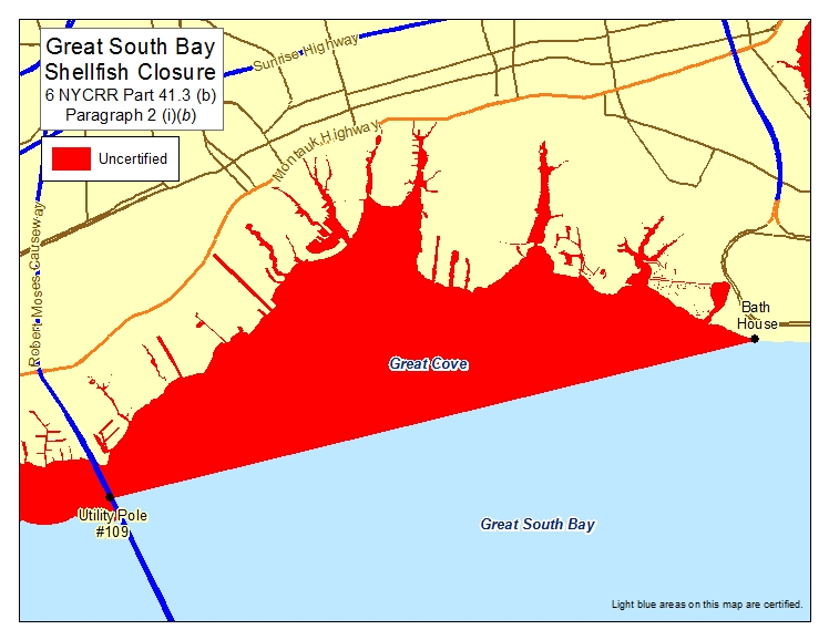 an image of Great South Bay - Bayshore Cove Shellfish Closures
