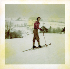 Author Frank Knight skiing in 1951