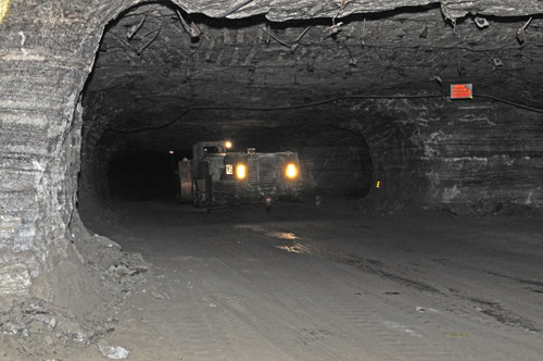 A mining vehicle deep in the salt mines
