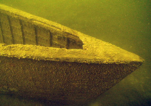 An underwater photo of the bow of the boat Forward