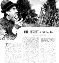 An article from an old issue of Conservationist magazine on the hermit of Cold River