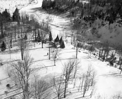 Aerial view in winter of Rondeau's home