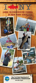 The cover of the I FISH NY map with photos of people and the fish the've caught