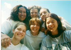 A photo of six girls at camp