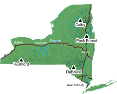 A map of New York showing the location of DEC's four environmental education camps