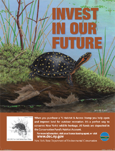 Habitat access stamp poster with a spotted turtle on it