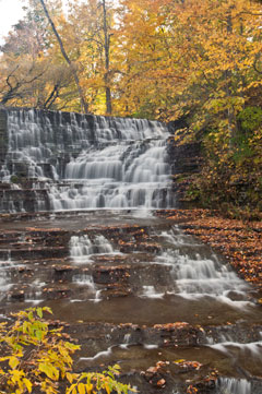 A water fall surrounded by fall foliage