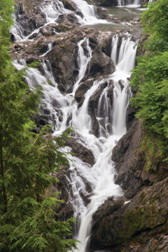 A multi-tiered waterfall with greenary framing it