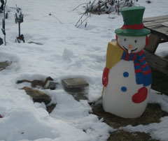 A weasel in the snow next to an inflatable snowman