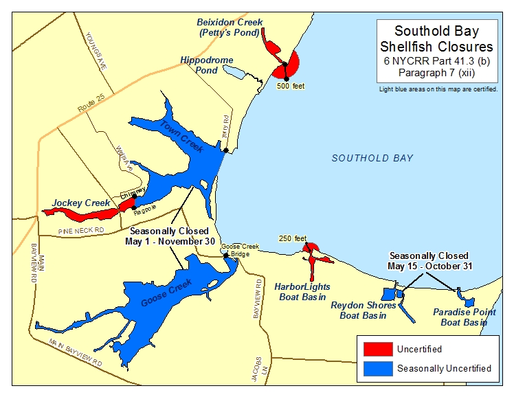 an image of Southold Bay Shellfish Closures