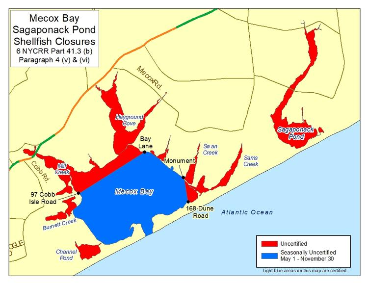 an image of Mecox Bay Shellfish Closures