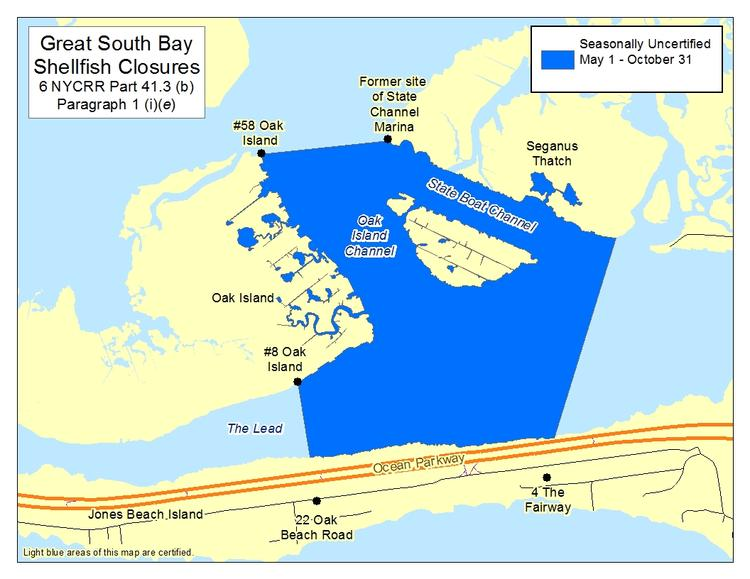 an image of Great South Bay - Oak Island Shellfish Closures