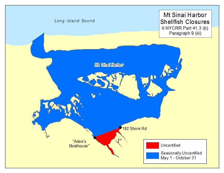 an image of Mount Sinai Harbor Shellfish Closures
