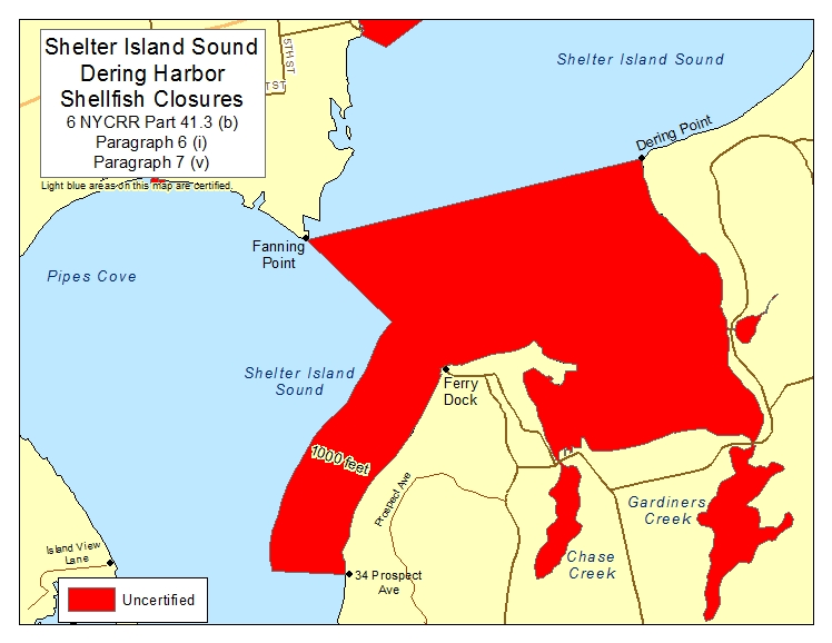 an image of Shelter Island Sound Dering Harbor and Pipes Cove Shellfish Closures