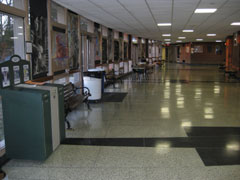 View down a school hallway