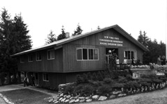 A black and white photo of the Rogers Environmental Education Center