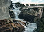 A historic postcard of the falls at Glens Falls
