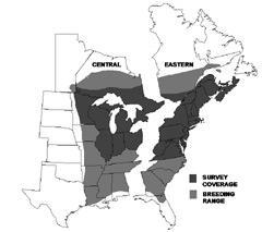 Map of the eastern united states showing the breeding range and survey area for American woodcock