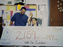 The author poses with his brother behind a banner celebrating his 2,159 mile hike