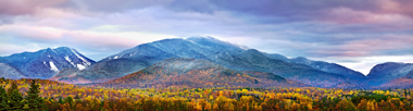 Panorama of the Adirondack High Peaks in Essex County in autumn