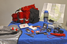 A survival kit with first aid supplies