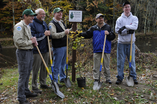 DEC staff and Trees for Tribs volunteers pose with their shovels and a tree seedling