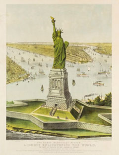 A hand-colored lithograph showing the Statue of Liberty and Manhatan, and surrounding rivers
