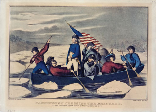 A colored lithograph of Gen. Washington standing in a row boat which is being rowed by soldier across a river with chunks of ice in it