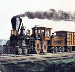 A detail of the lithograph - The Express Train