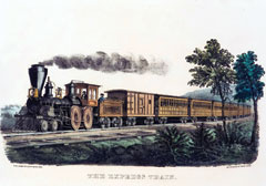A hand-colored lithograph of a steam locomotive on the tracks