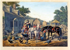 A hand-colored lithograph of a family preparing to take produce, poultry and other goods to market on horses