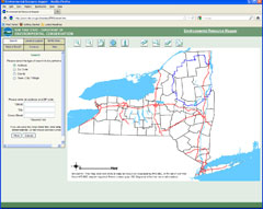 A screen shot of a map of New York state with counties and some of the great lakes