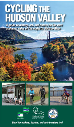 The cover of Cycling the Hudson Valley, showing the Hudson and people using bikes on bikepaths