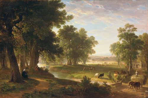 An oil painting of an older man looking over a field with cows grazing and some trees in summer