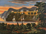 An oil painting of sailboats on the Hudson River at West Point