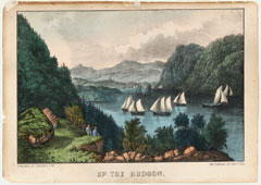 A colored lithograph showing a group of sailboats sailing up the Hudson River