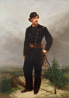 A painting of a military man posing on a rocky bluff with his sword