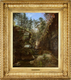 An oil painting of a portion of the Watkins Glen gorge, in a gold frame