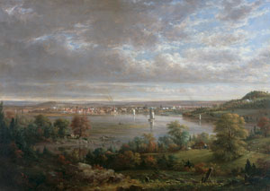 An oil painting of the town of Hudson and the Hudson River
