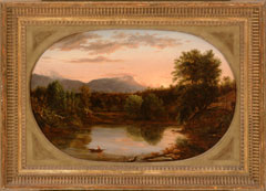 An oil painting depicting a view up a creek surrounded by woods