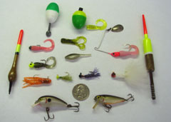 assortment of lures and floats
