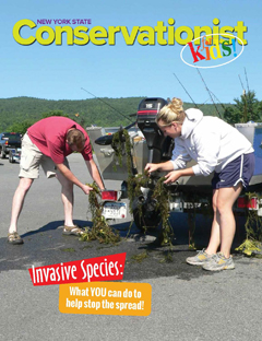 The front cover of the Spring 2018 Invasive Species issue of Conservationist for Kids features 2 people cleaning a boat
