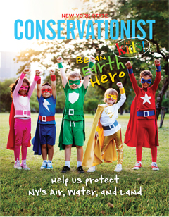 The front cover of the Spring 2019 Be an Earth Hero issue of Conservationist for Kids features a photo of children dressed as superheroes