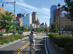 Cyclist riding on an urban bike lane